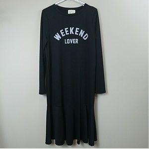 NWOT Weekend Lover Ruffle Hem T-shirt Midi Dress